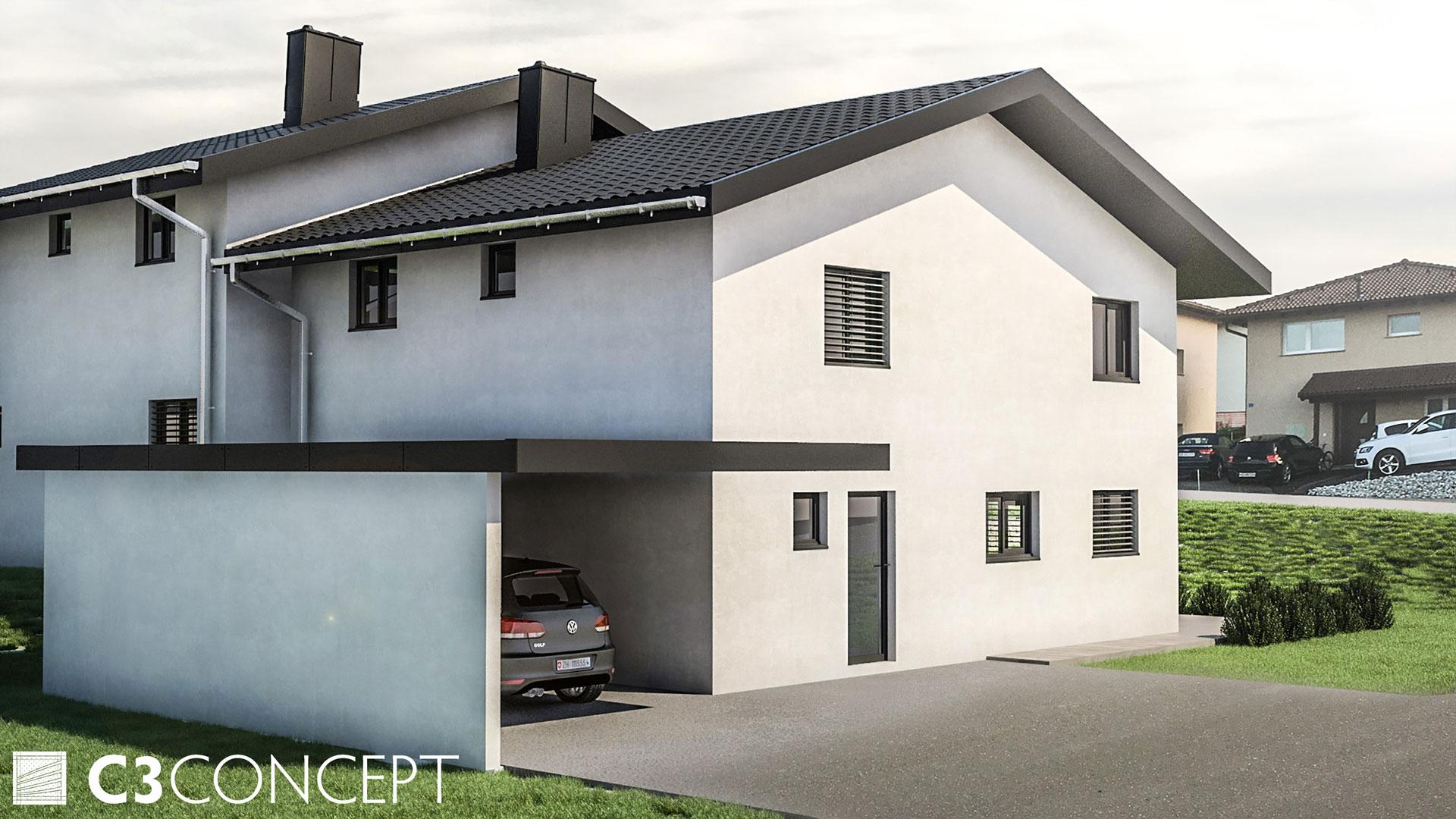 C3 Concept, visualisation 3D à Bulle. villas jumelées Vuisternens extérieur