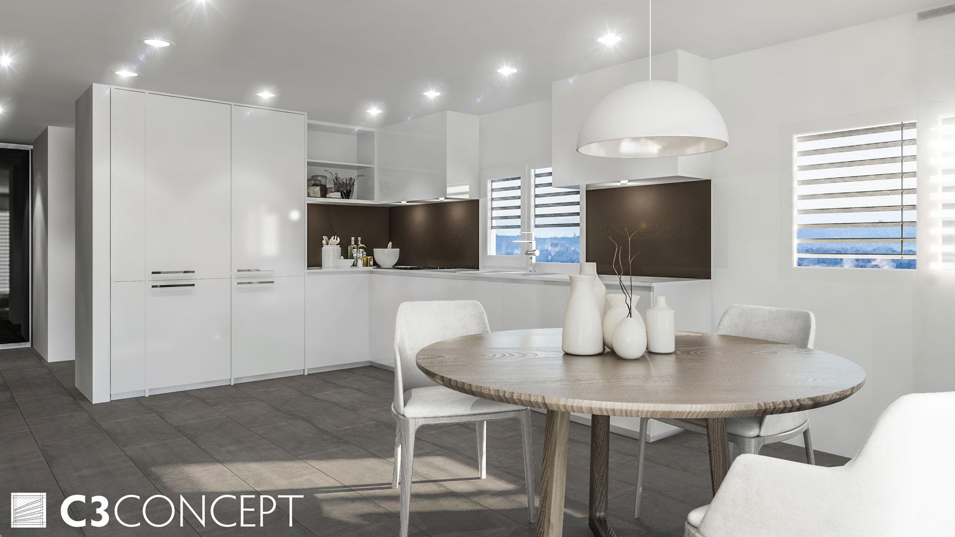 C3 Concept, visualisation 3D à Bulle. villas jumelées Vuisternens intérieur
