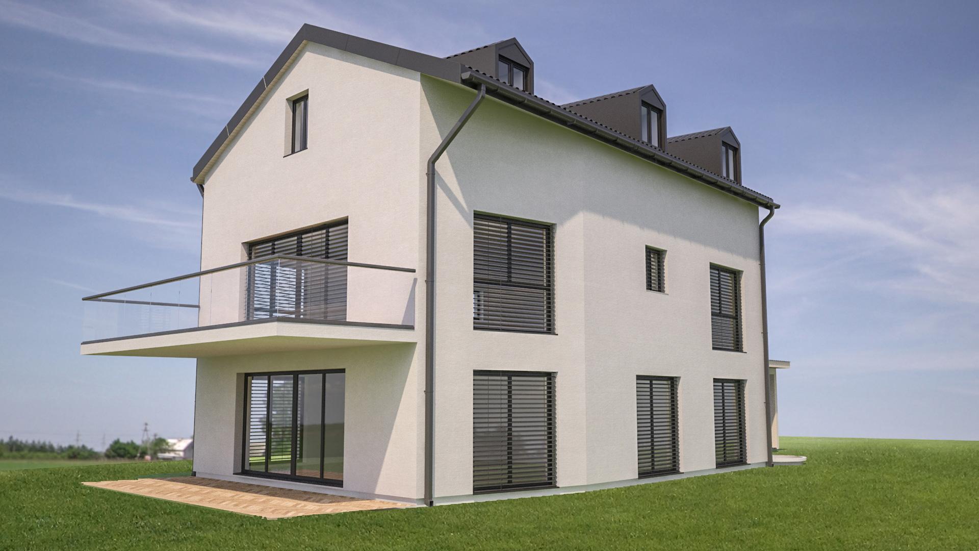 C3 Concept, visualisation 3D à Bulle. cressier villa 2 appartements extérieur
