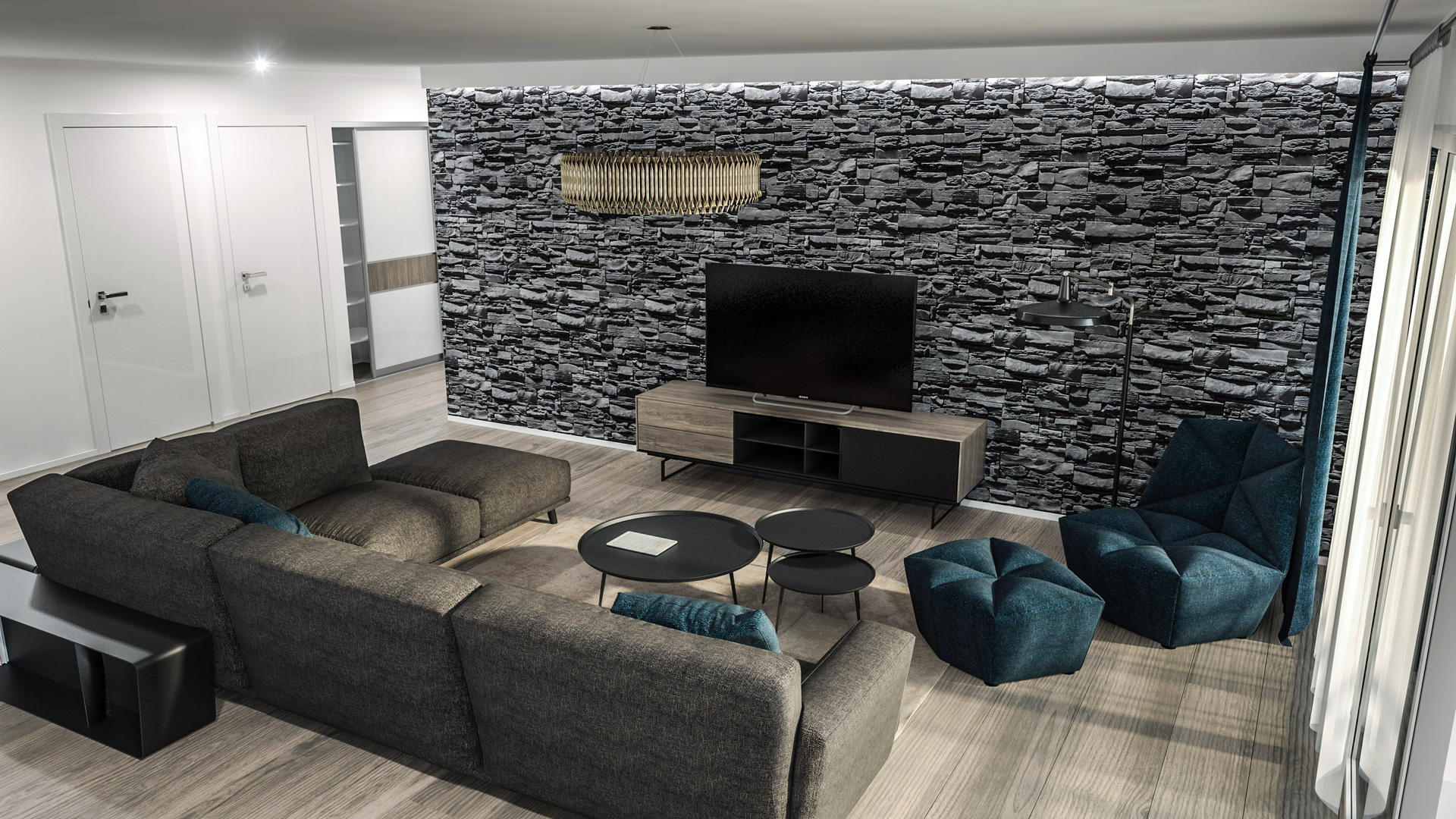 C3 Concept, visualisation 3D à Bulle. Vuisternens immeuble intérieur