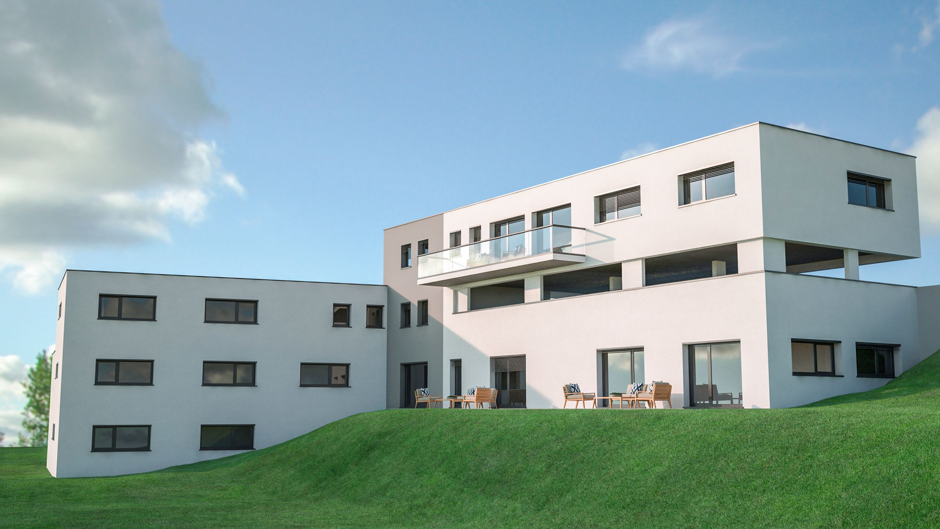 C3 Concept, visualisation 3D architecture à Bulle. Giffers extérieurs