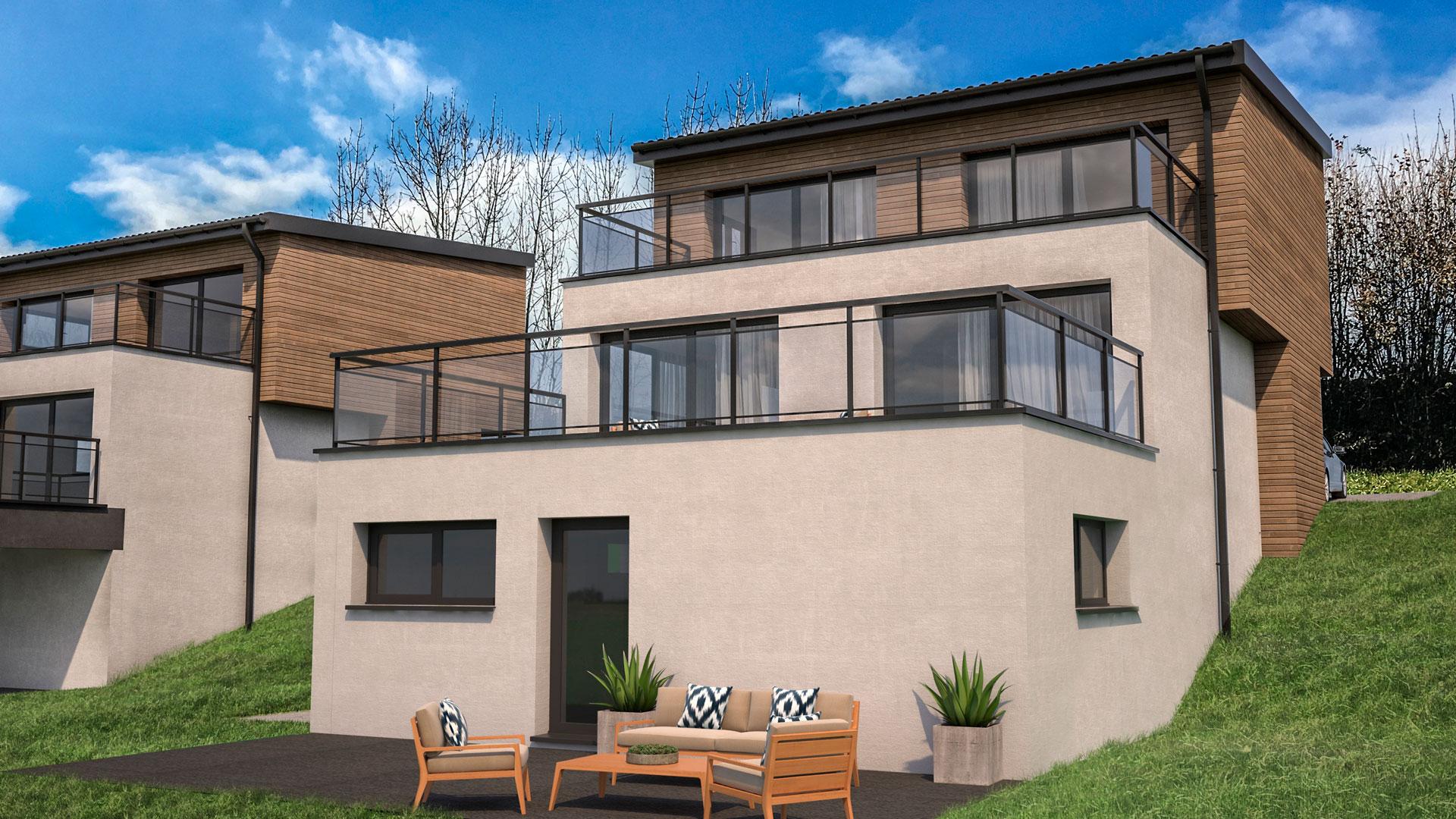 C3 Concept, visualisation 3D architecture à Bulle. Le Mouret extérieurs