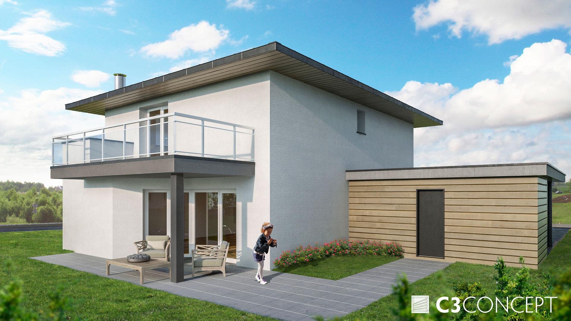 C3 Concept, visualisation 3D architecture à Bulle. Riaz extérieurs