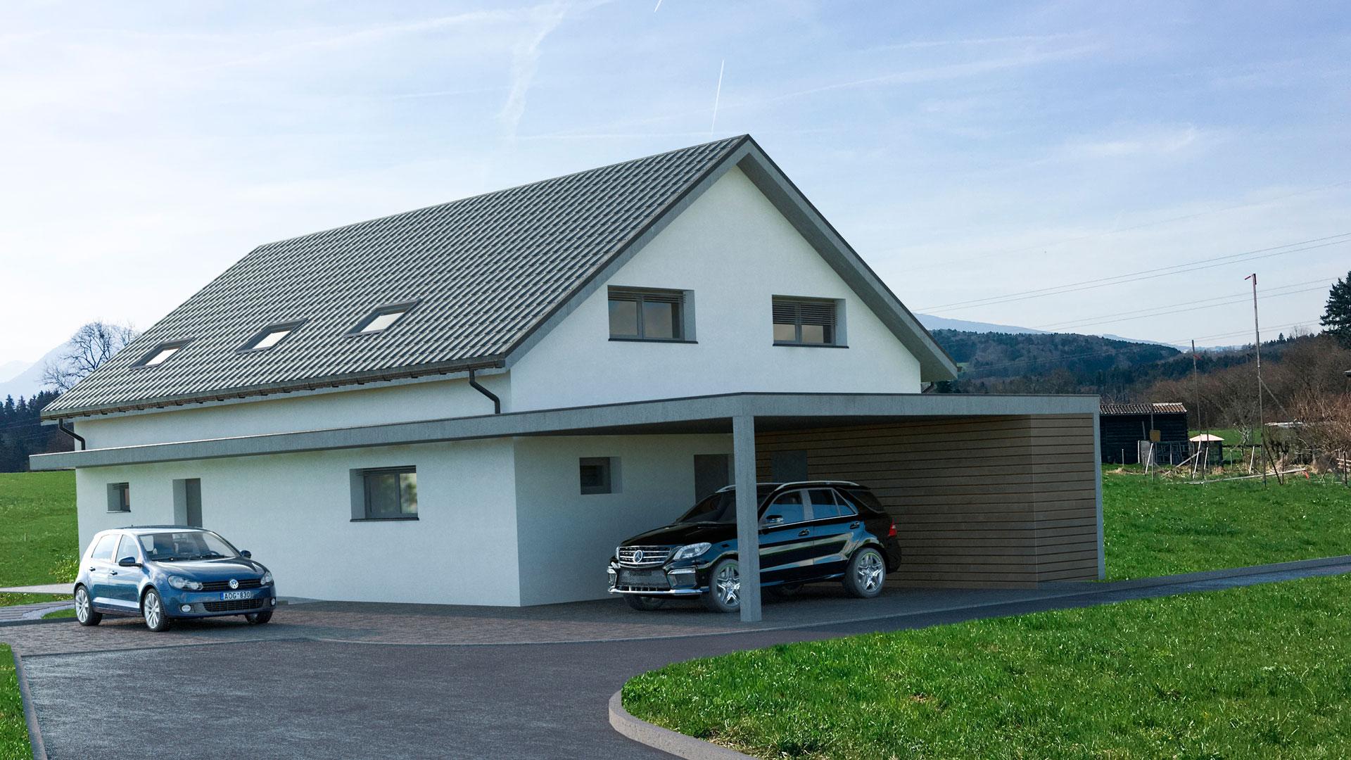 C3 Concept, visualisation 3D architecture à Bulle. Villarvolard extérieurs