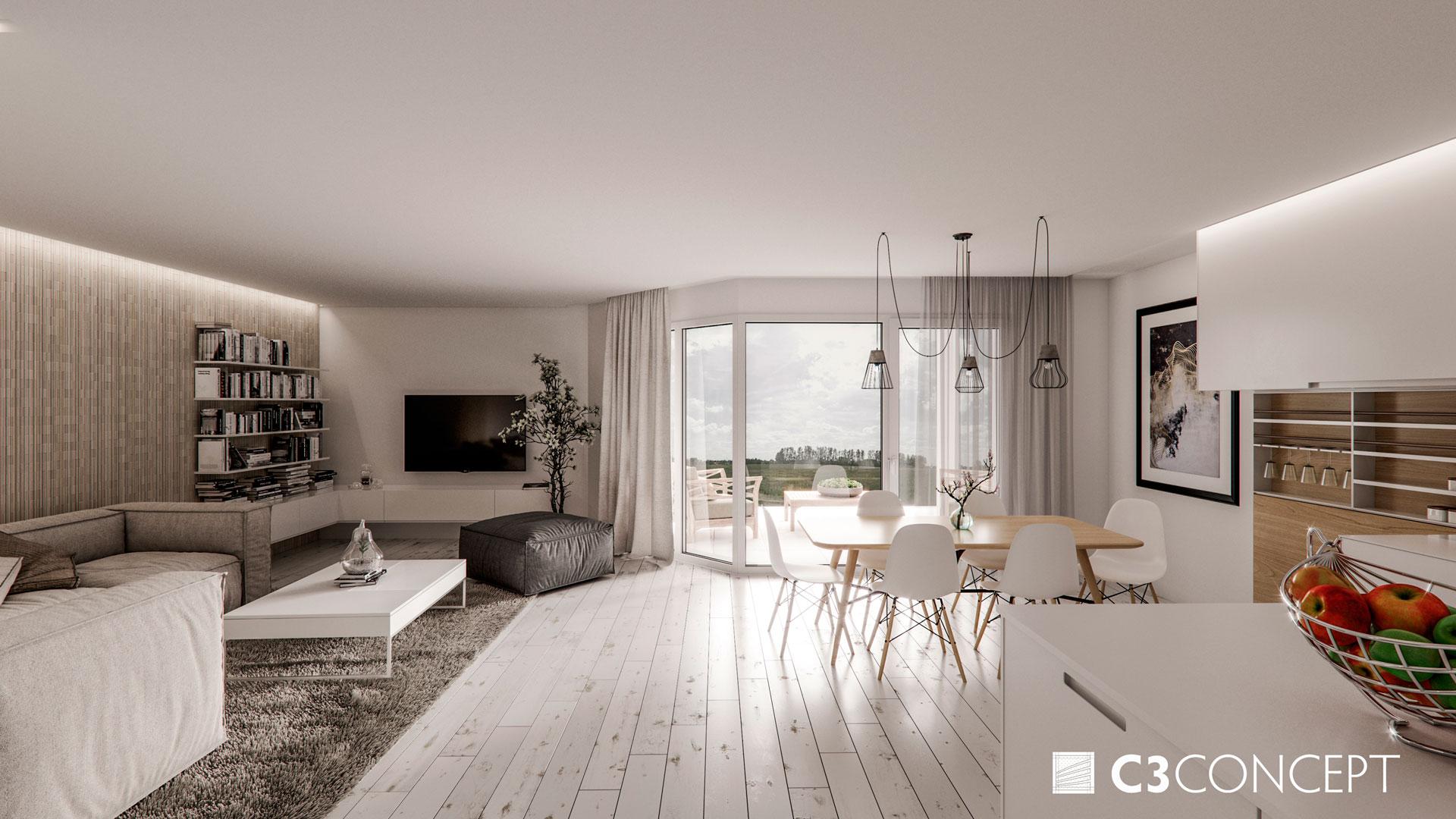 C3 Concept, visualisation 3D architecture à Bulle. Riaz intérieur
