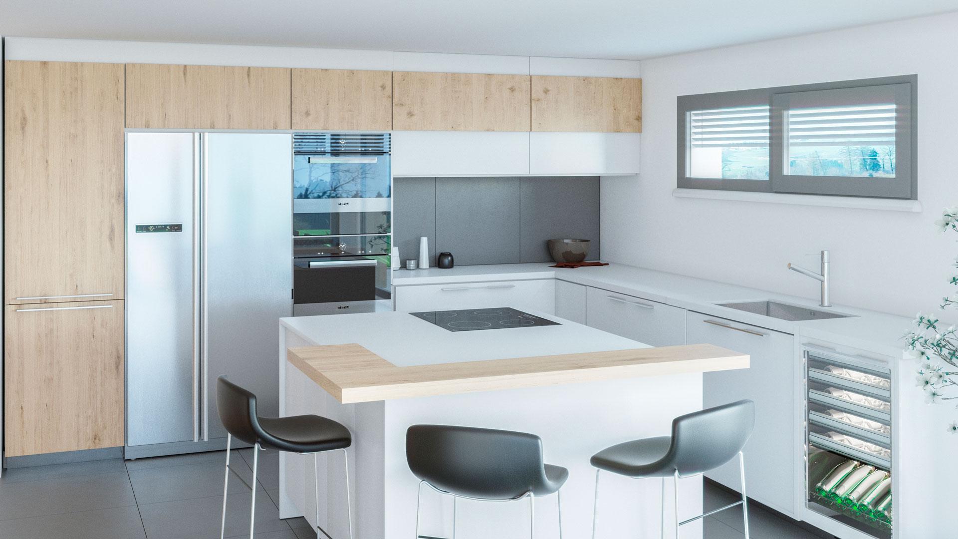 C3 Concept, visualisation 3D architecture à Bulle. Villarvolard intérieur
